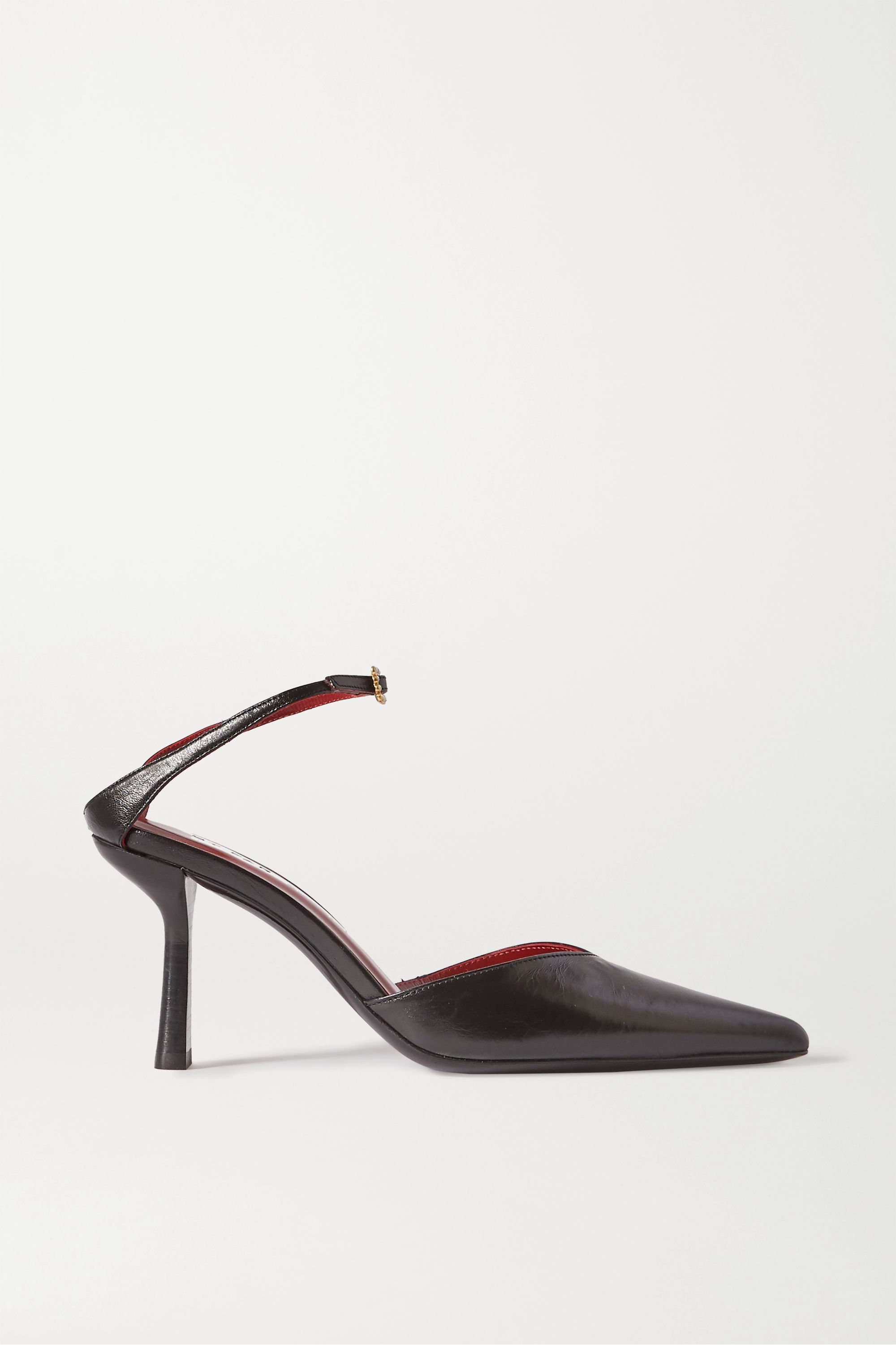 BY FAR Alla crystal-embellished leather pumps