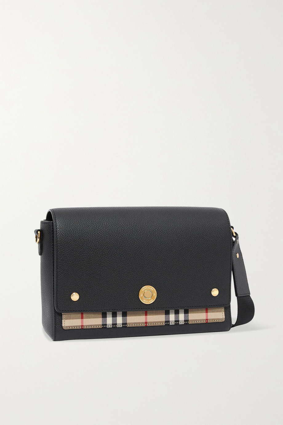 Burberry Hackberry checked canvas and textured-leather shoulder bag