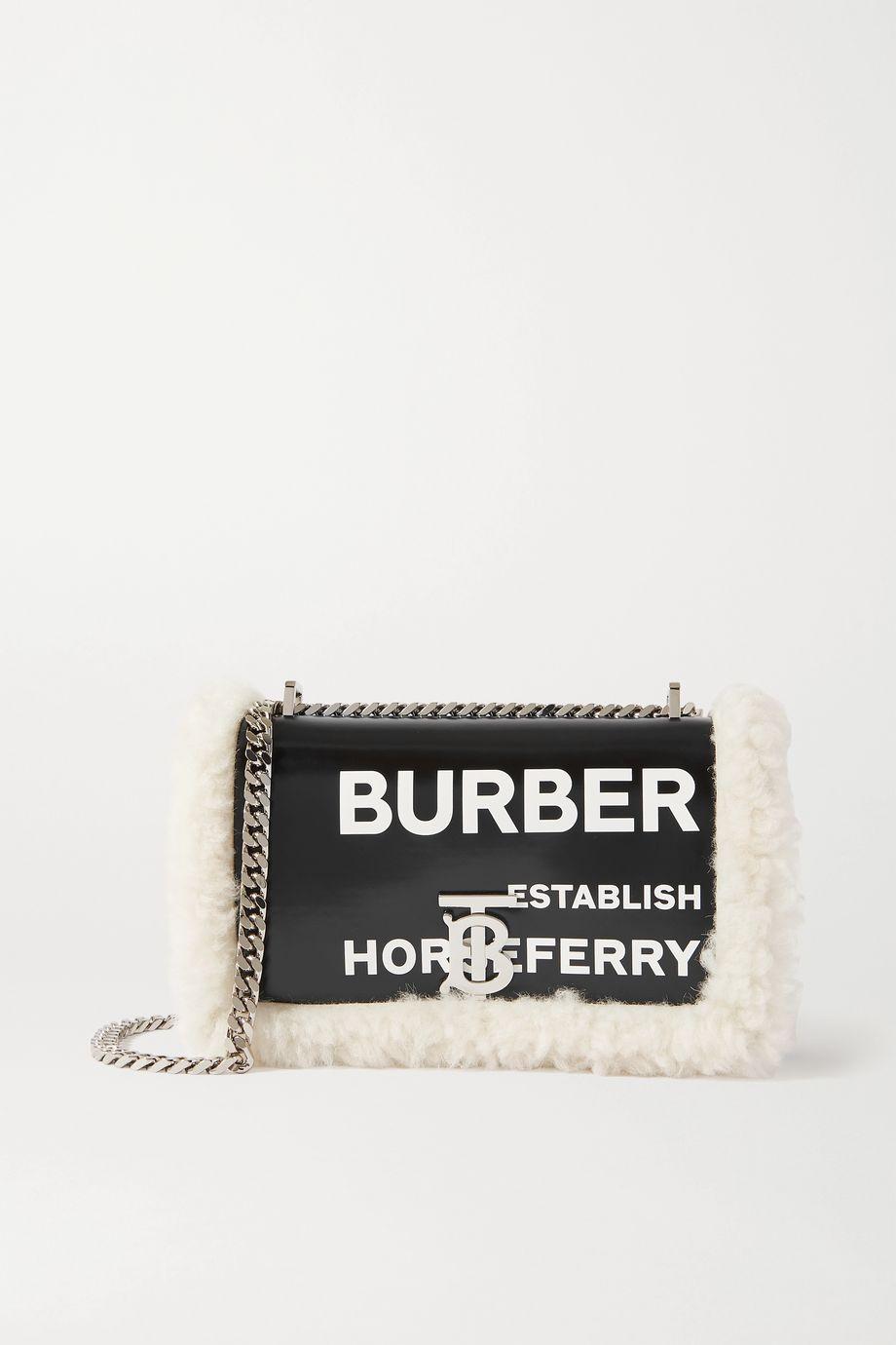 Burberry Shearling-trimmed printed leather shoulder bag