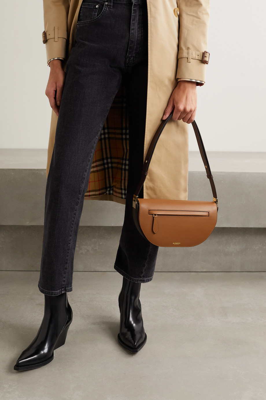 Burberry Olympia small two-tone leather shoulder bag
