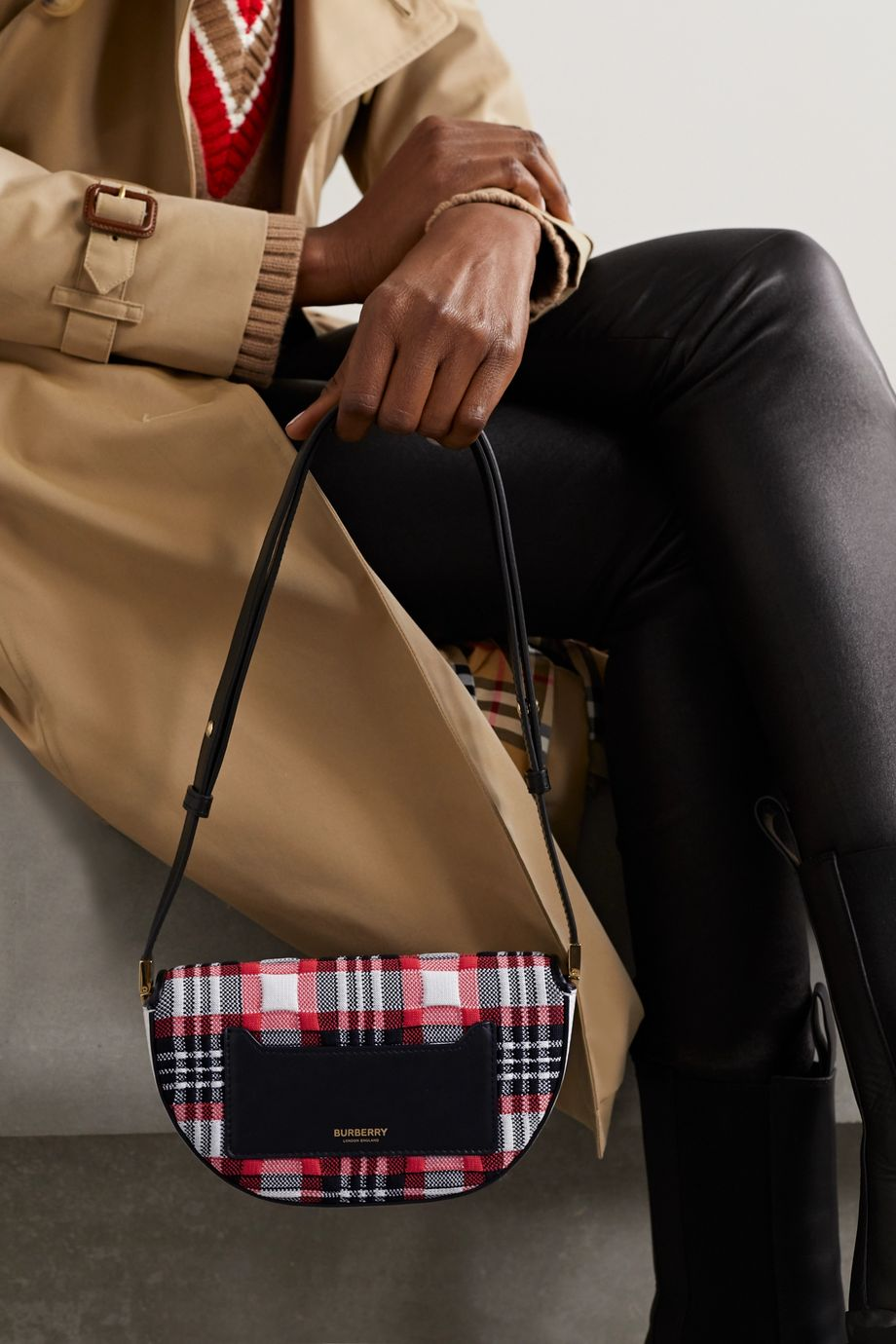 Burberry Olympia small checked jacquard and leather shoulder bag