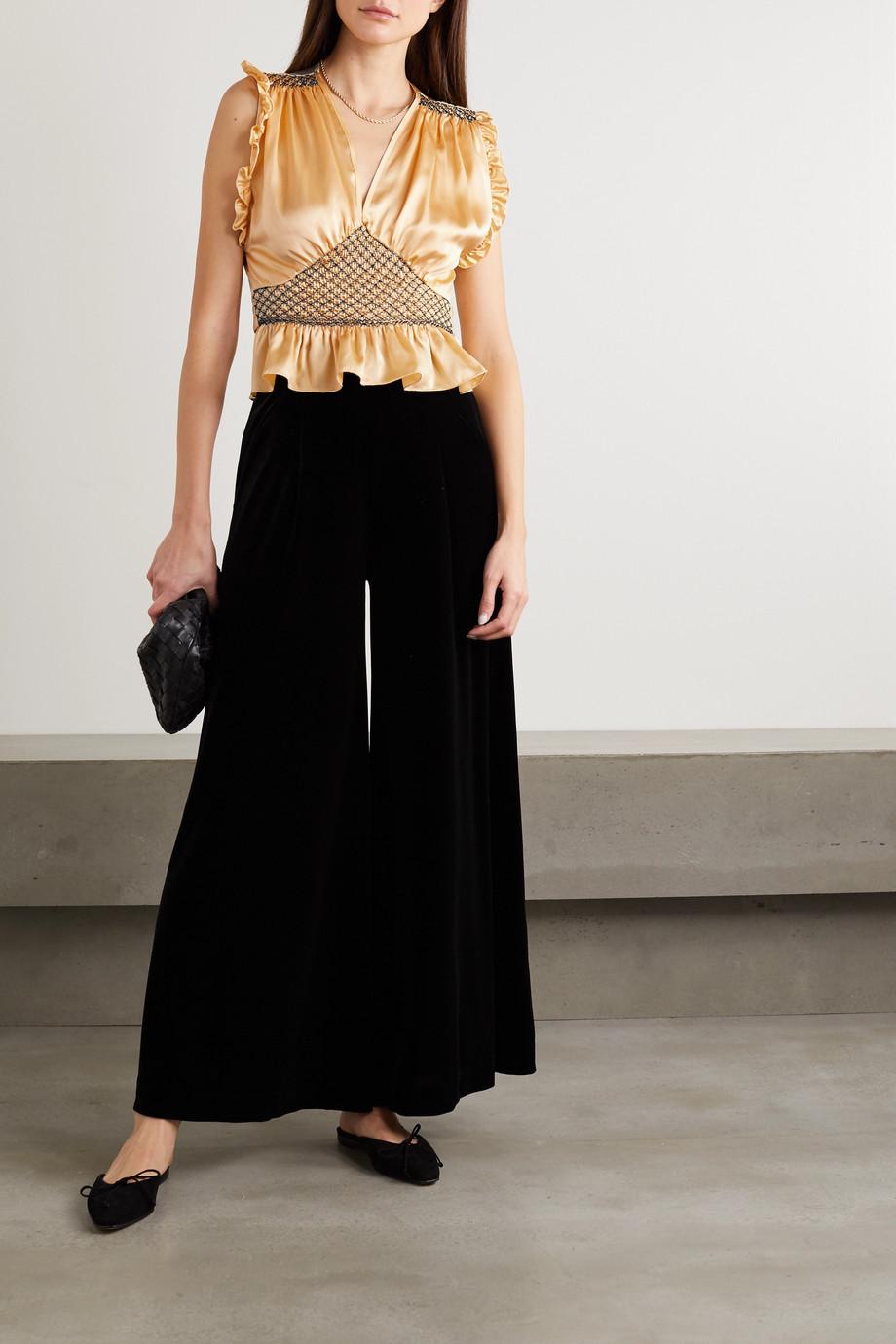 Loretta Caponi Valeria cropped bow-detailed ruffled smocked silk-satin top