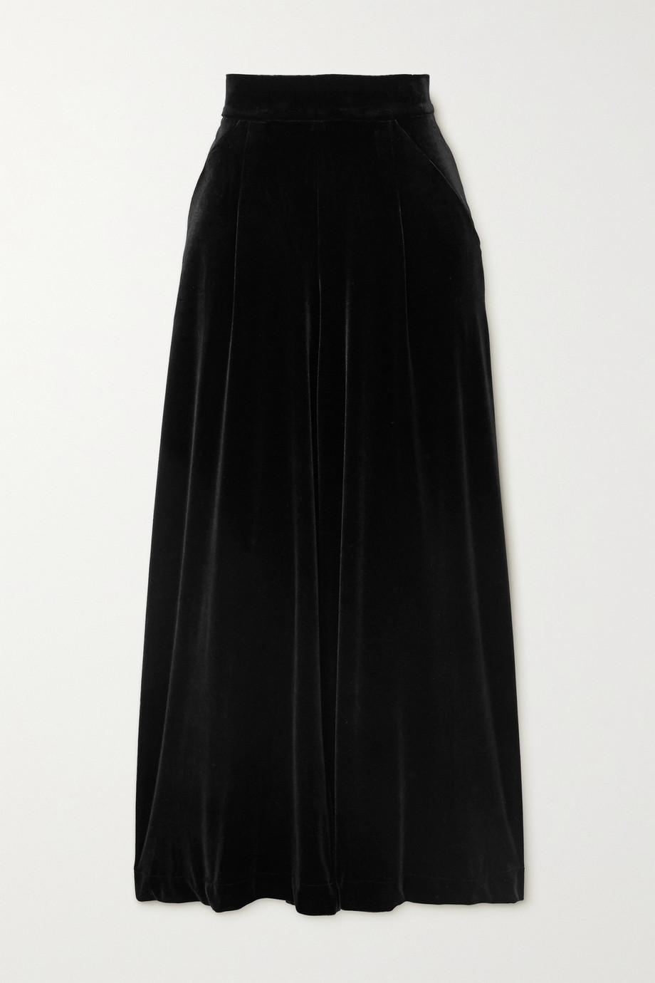Loretta Caponi Sabrina stretch-velvet wide-leg pants