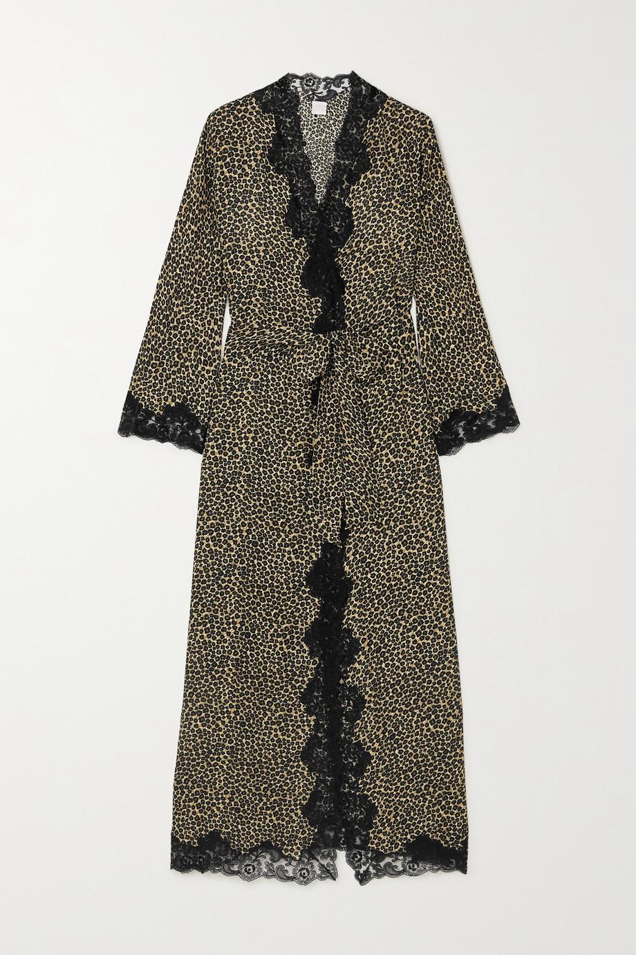 Loretta Caponi Greta lace-trimmed leopard-print silk-georgette robe