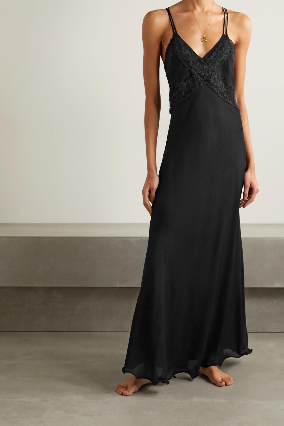 Loretta Caponi Benedetta lace-trimmed silk-georgette nightdress