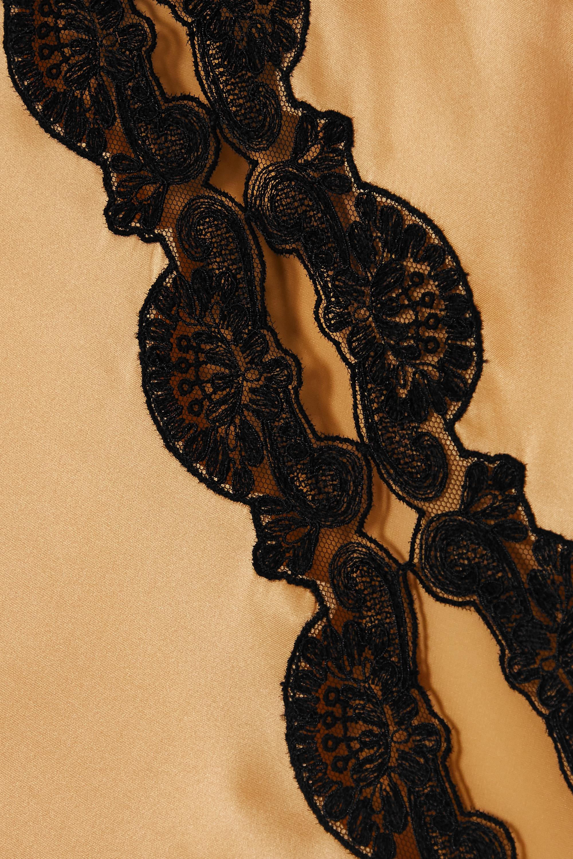 Loretta Caponi Nausica lace-trimmed silk-satin maxi dress