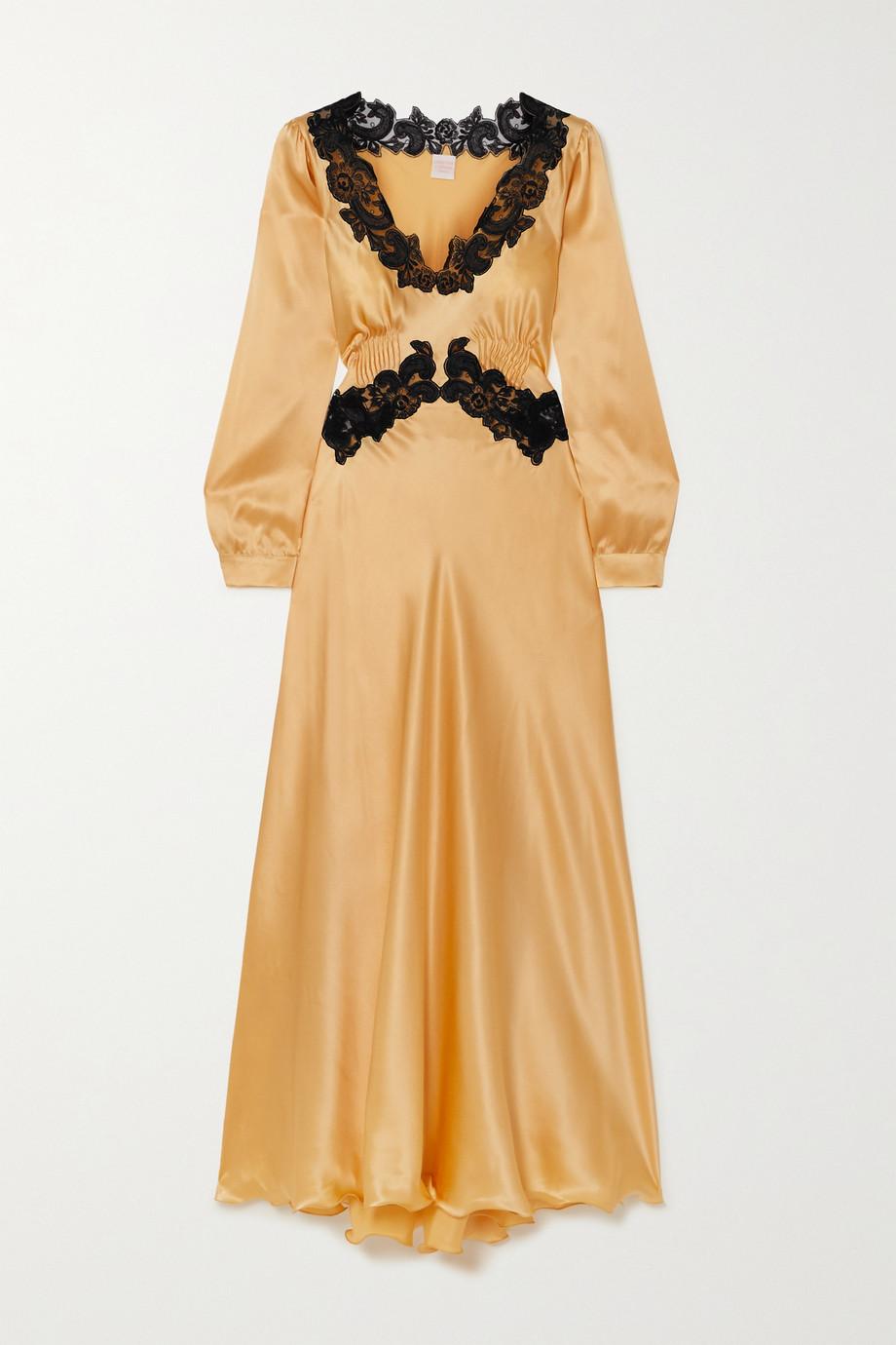 Loretta Caponi Lugina Kleid aus Seidensatin mit Spitzenbesätzen und Biesen