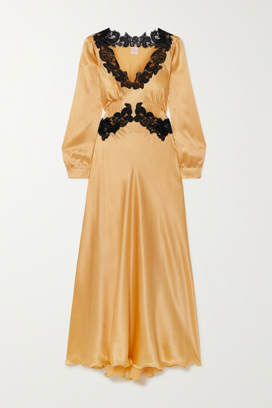 Loretta Caponi Lugina lace-trimmed pintucked silk-satin dress