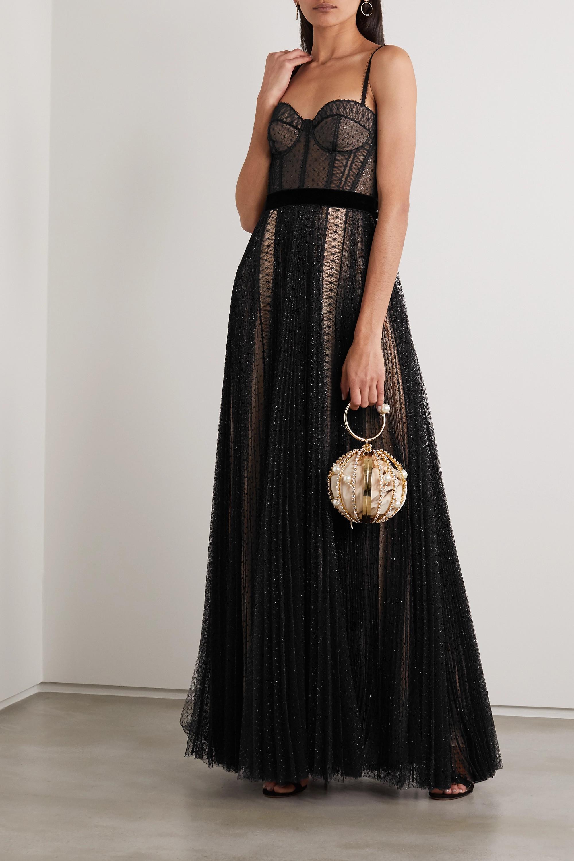 Ralph & Russo Velvet-trimmed metallic fil coupé tulle gown
