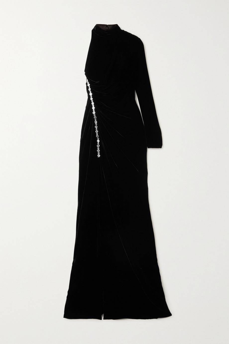 Ralph & Russo Robe aus Samt mit Kristallen und asymmetrischer Schulterpartie