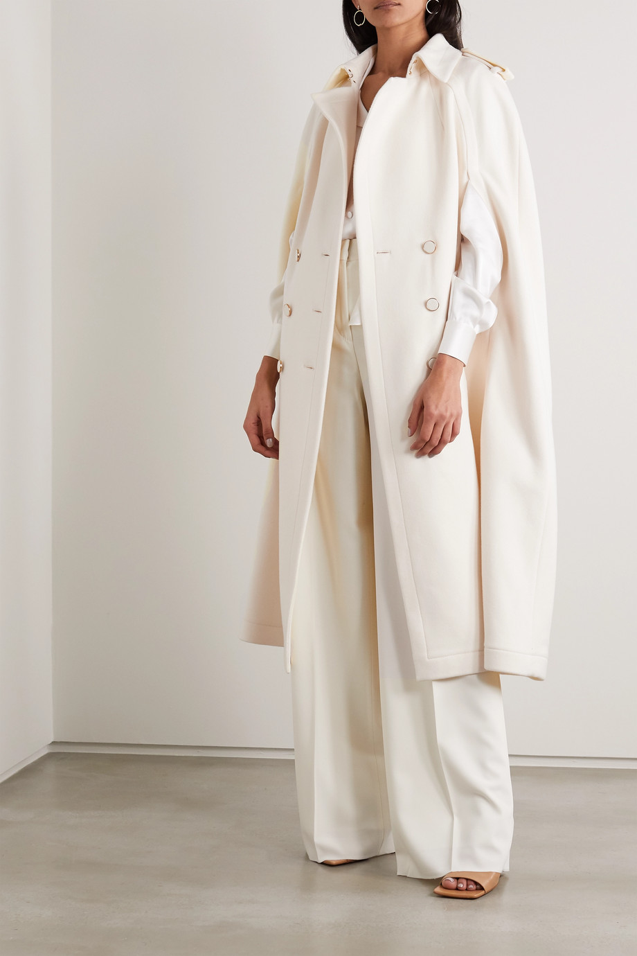 Ralph & Russo Cape-effect double-breasted wool and cashmere-blend coat