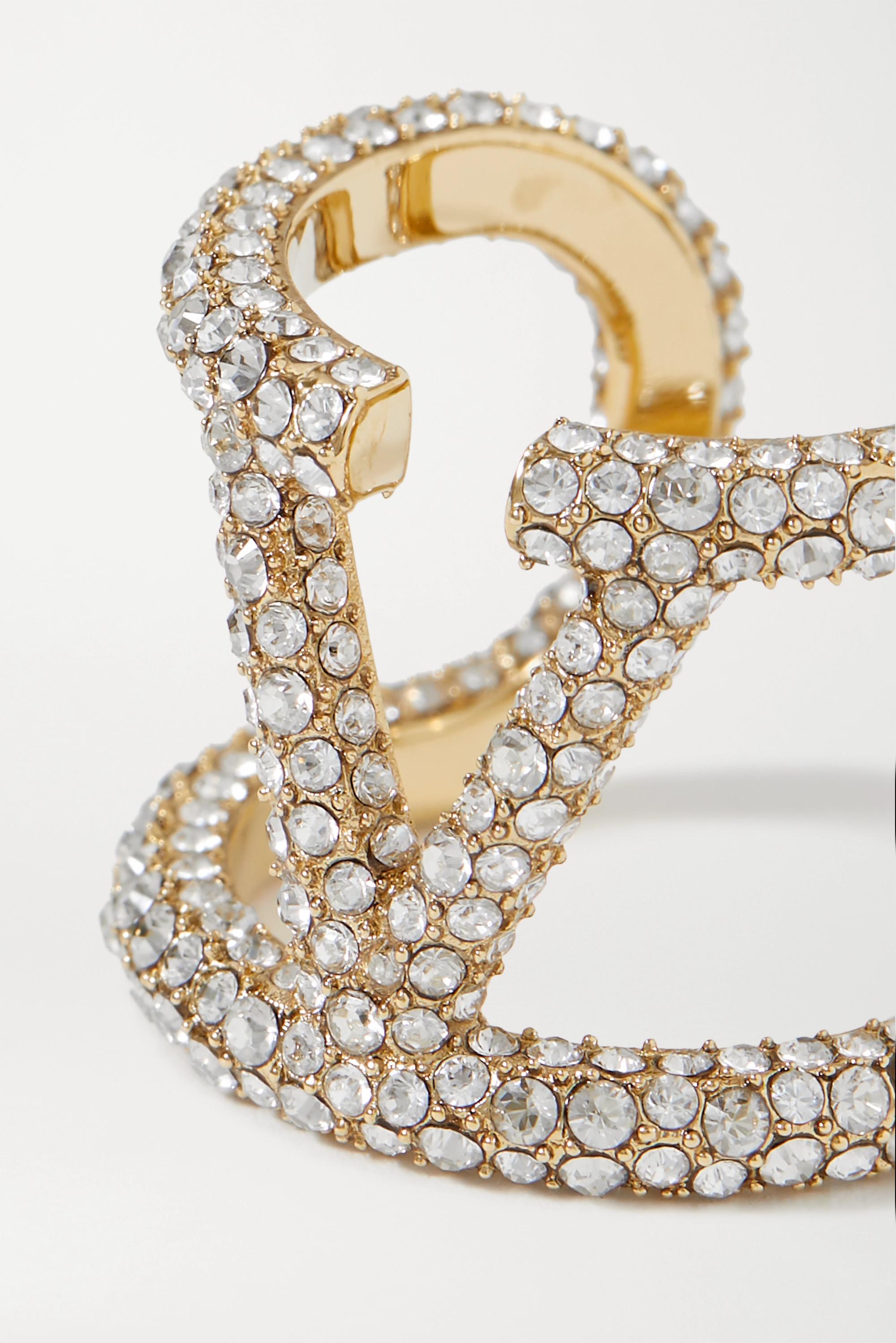 Valentino Valentino Garavani goldfarbener Ring mit Kristallen