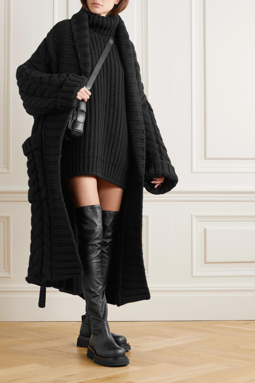 Dolce & Gabbana Oversized-Cardigan aus einer Woll-Kaschmirmischung in Zopfstrick mit Bindegürtel