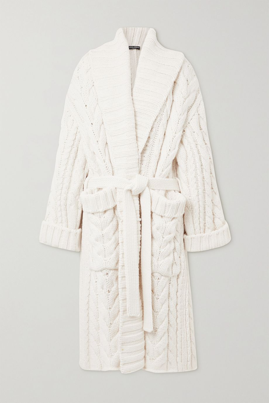 Dolce & Gabbana Oversized belted cable-knit wool and cashmere-blend cardigan