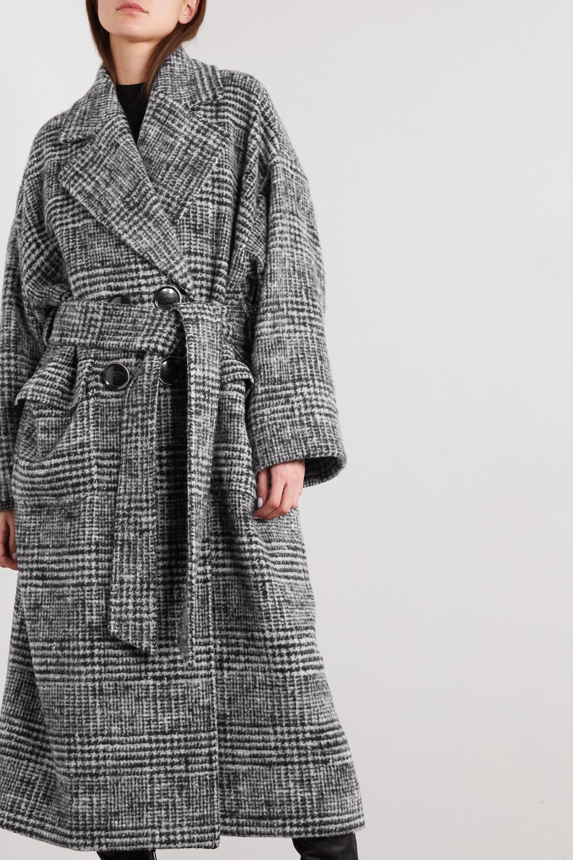 Dolce & Gabbana Belted Prince of Wales checked wool-blend coat
