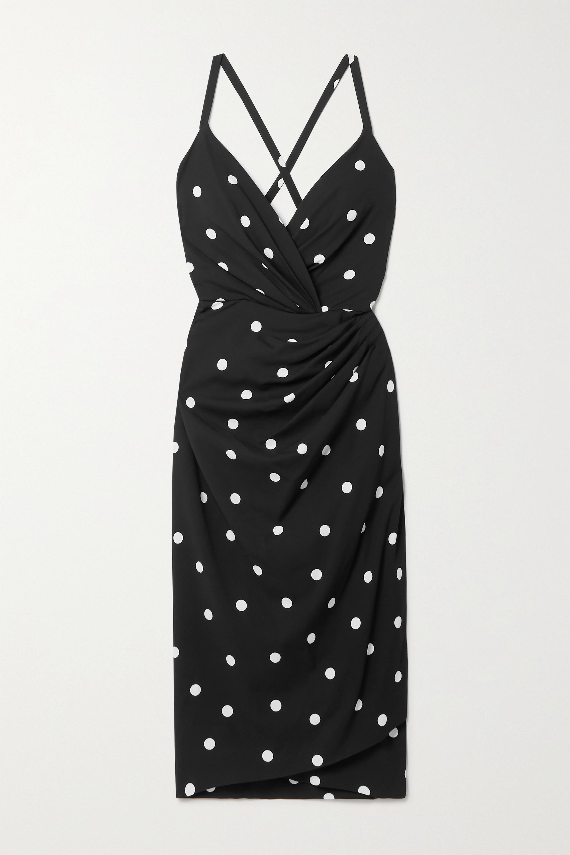 Dolce & Gabbana Open-back wrap-effect polka-dot crepe midi dress