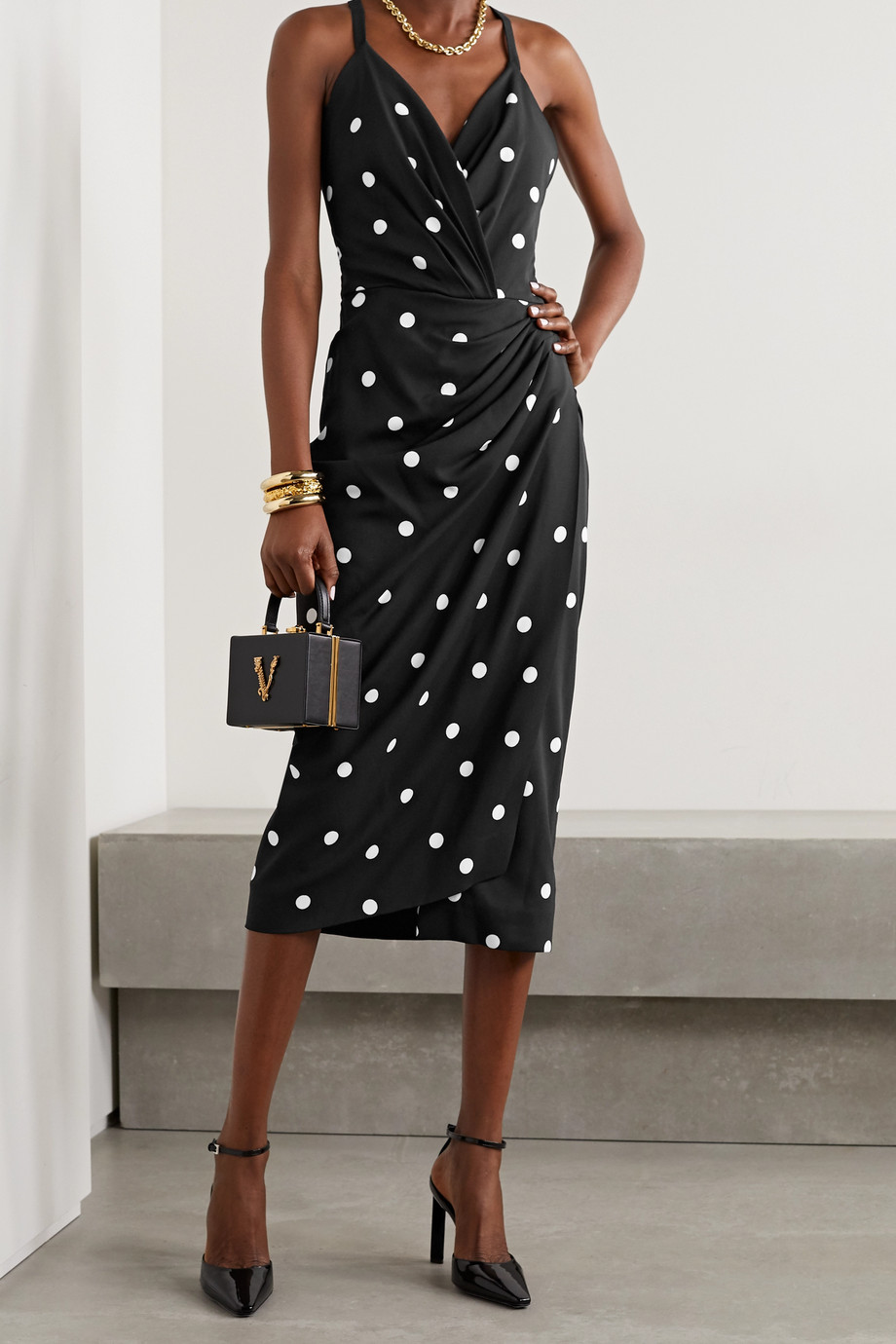 Dolce & Gabbana Open-back wrap-effect polka-dot crepe midi dress