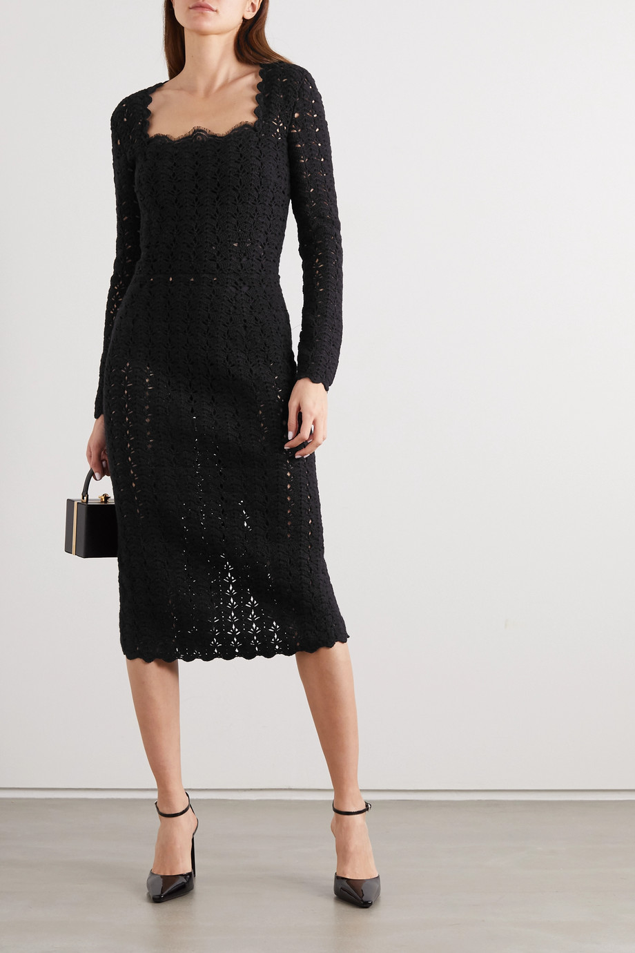 Dolce & Gabbana Crocheted wool and cashmere-blend midi dress