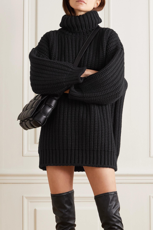 Dolce & Gabbana Minikleid aus einer gerippten Woll-Kaschmirmischung mit Rollkragen