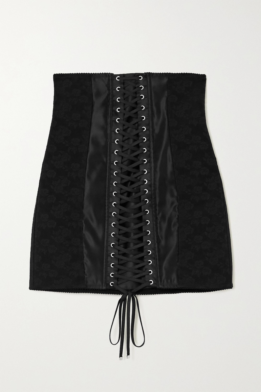 Dolce & Gabbana Lace-up satin-trimmed floral-jacquard mini skirt