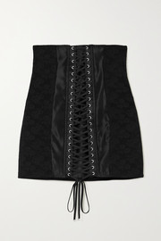Dolce & Gabbana Lace-up satin-trimmed floral-jacquard mini skirt