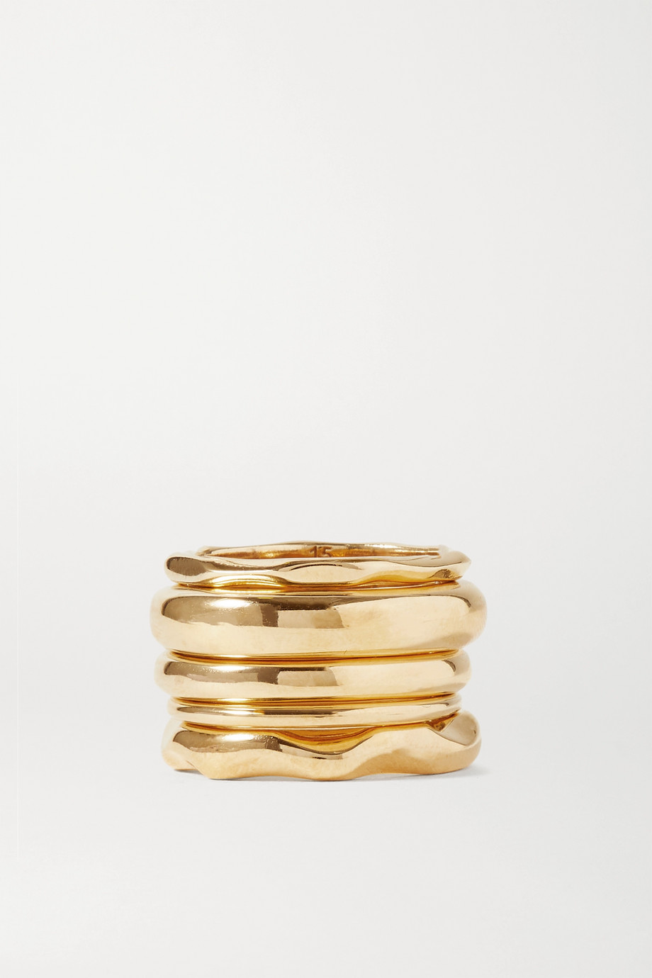 Bottega Veneta Set of five gold-plated rings
