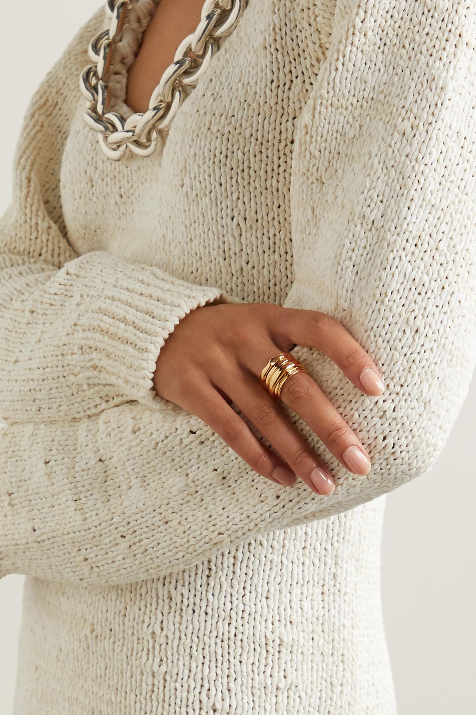 Bottega Veneta Set of five gold-plated rings