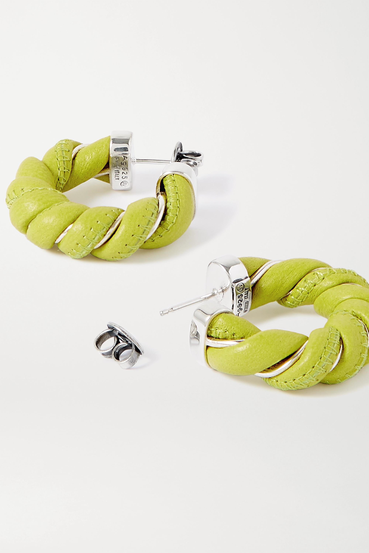Bottega Veneta 皮革银色金属耳环