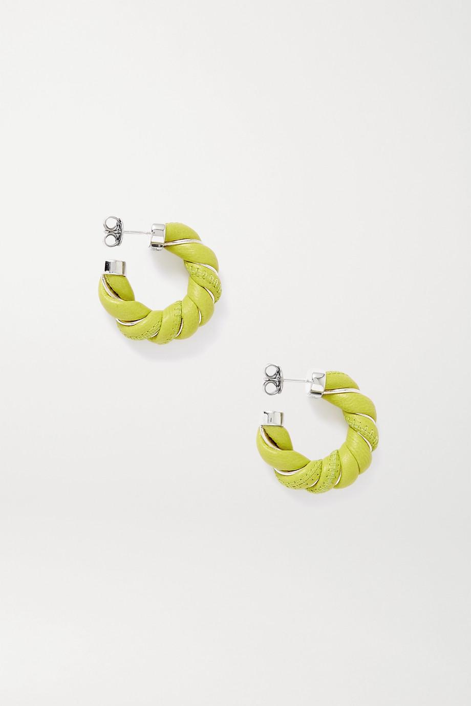 Bottega Veneta Silver-tone and leather hoop earrings
