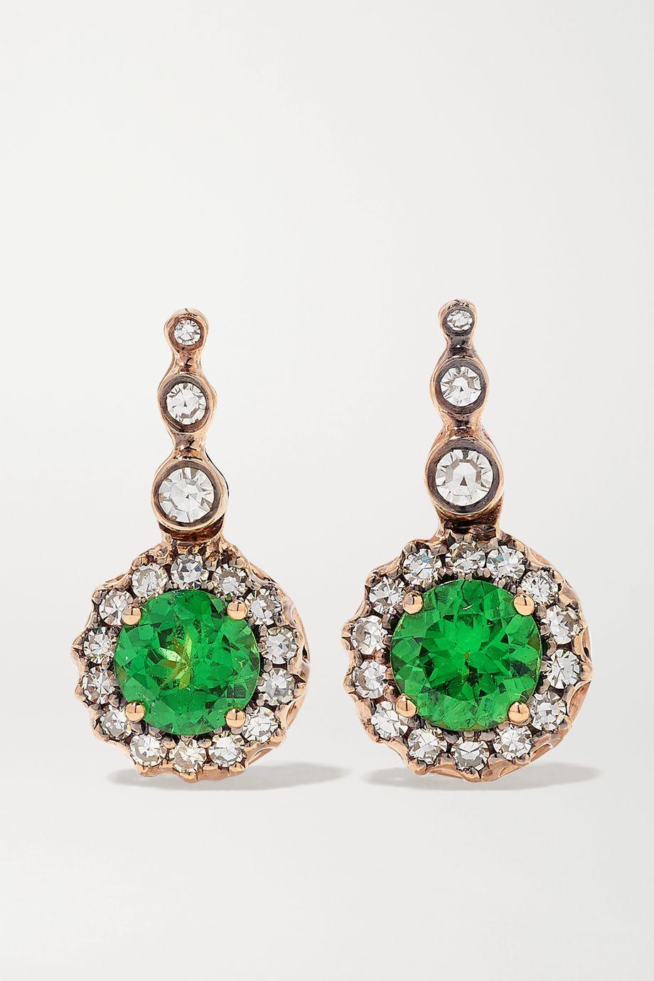 Selim Mouzannar Beirut Basic Ohrringe aus 18 Karat Roségold mit Tsavoriten und Diamanten