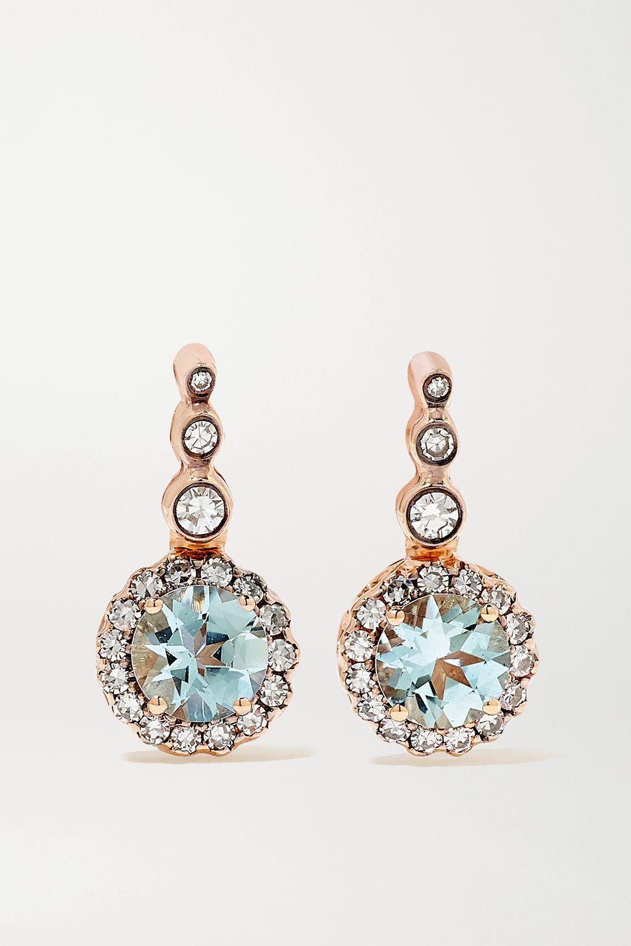 Selim Mouzannar Beirut Basic Ohrringe aus 18 Karat Roségold mit Aquamarinen und Diamanten