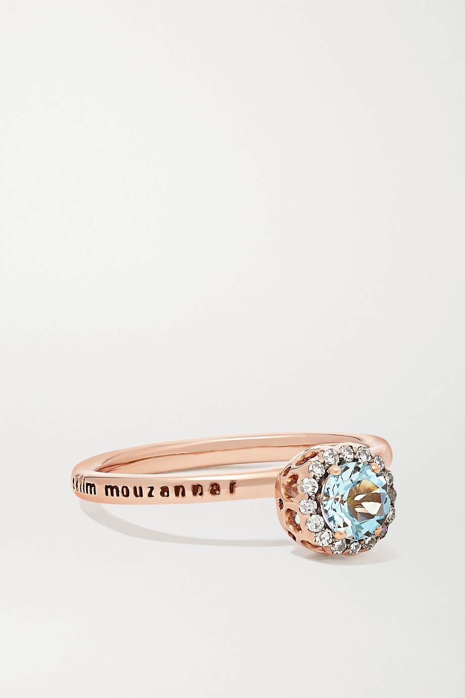 Selim Mouzannar Bague en or rose 18 carats, aigue-marine et diamants Beirut Basic