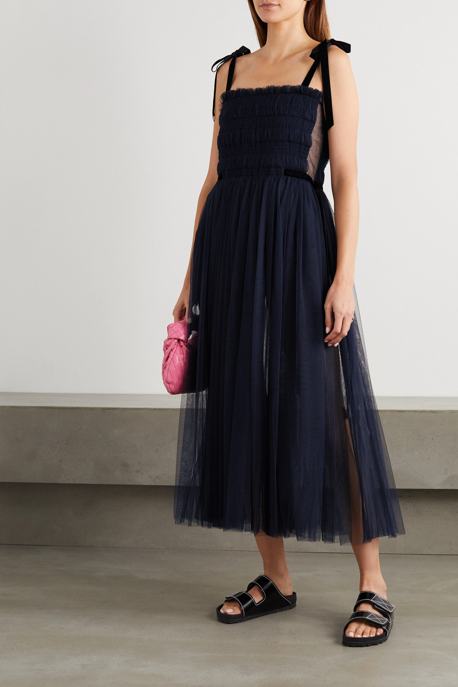 Molly Goddard Marta velvet-trimmed shirred tulle midi dress