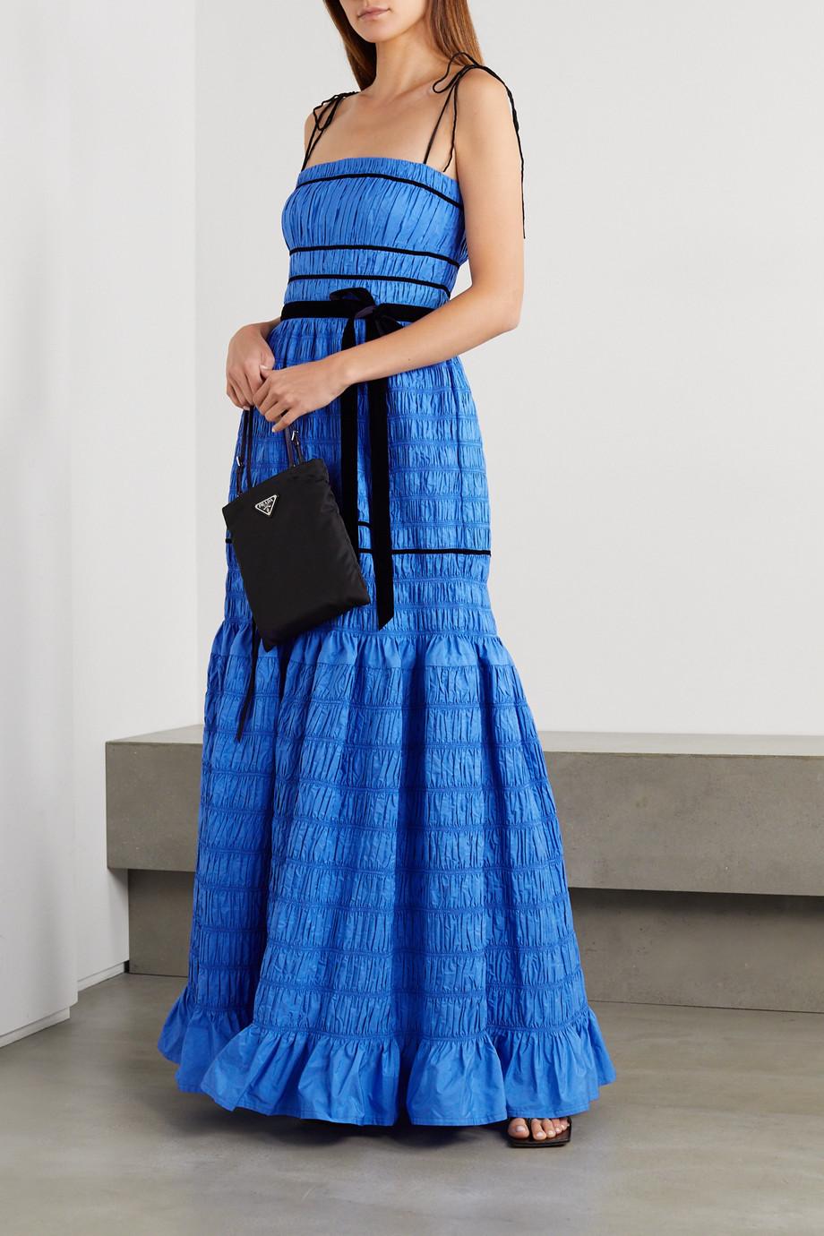 Molly Goddard Minnie velvet-trimmed shirred tiered taffeta gown