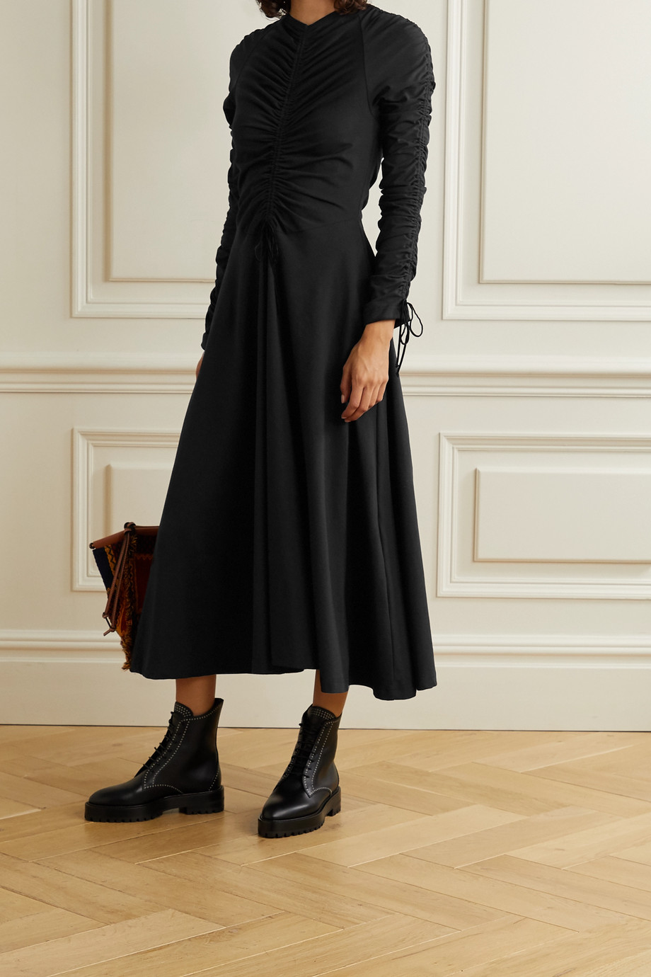 Molly Goddard Ruched velvet-trimmed cotton-blend jersey midi dress