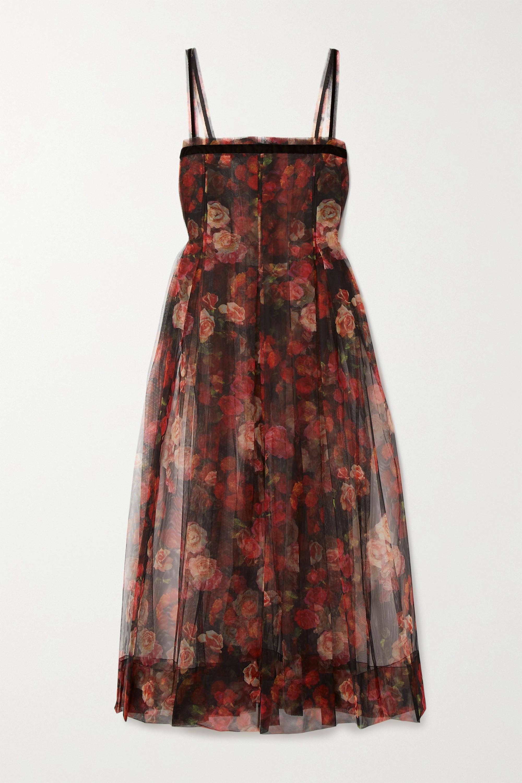 Molly Goddard Trino velvet-trimmed pleated floral-print tulle midi dress