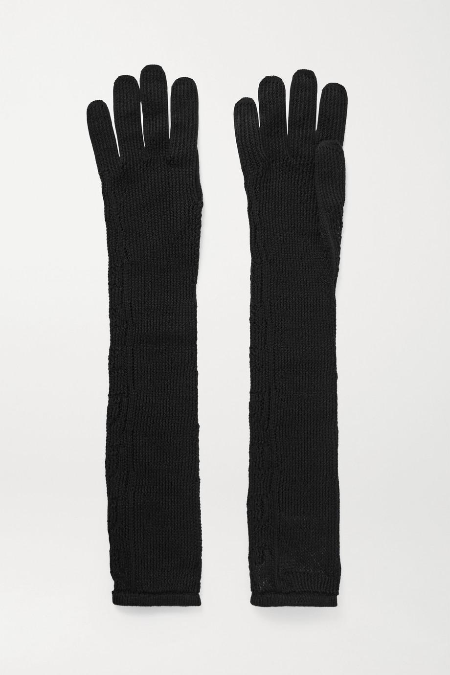 Gucci Handschuhe aus Pointelle-Strick aus einer Baumwollmischung