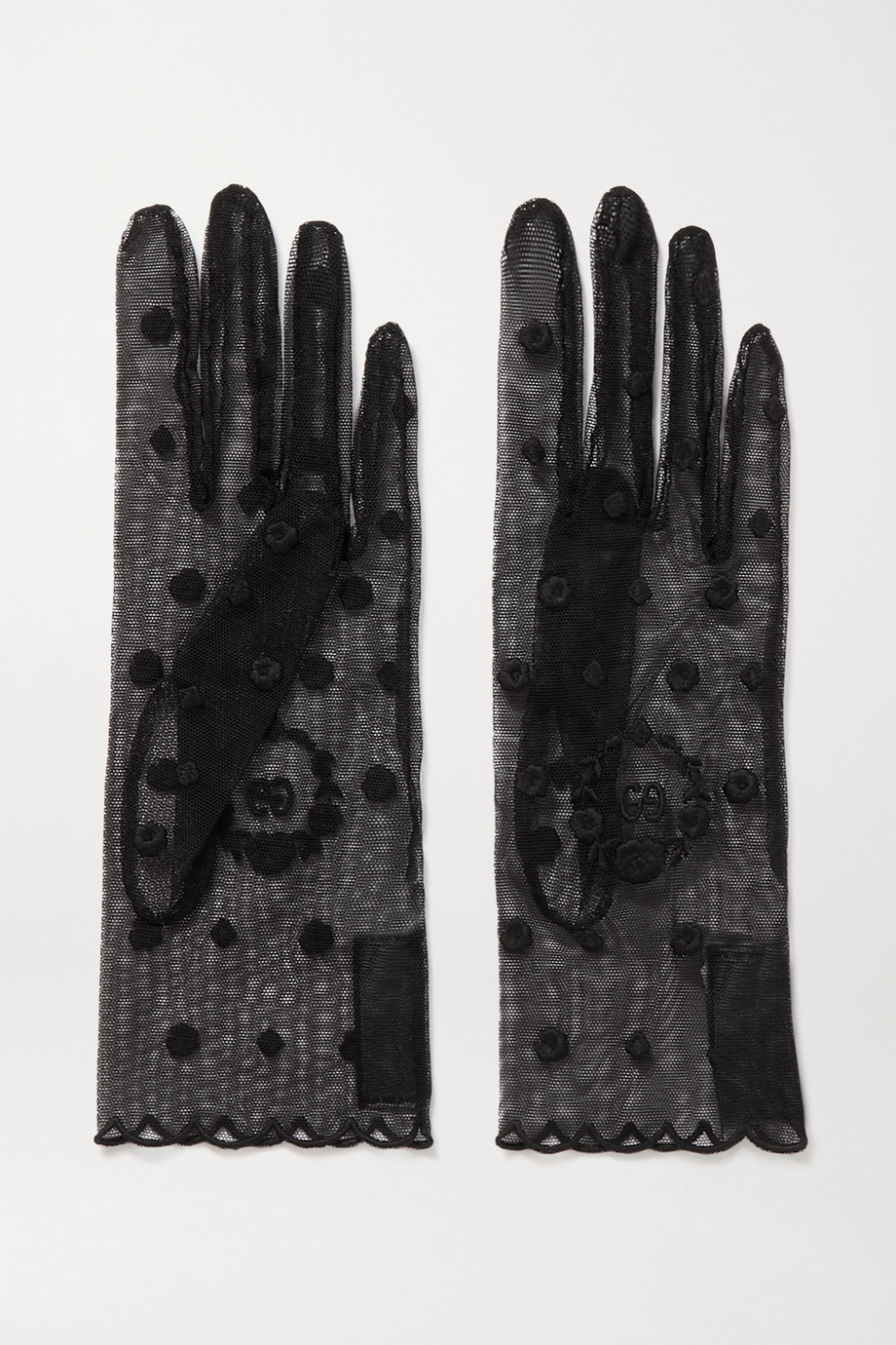Gucci Laurel embroidered tulle gloves
