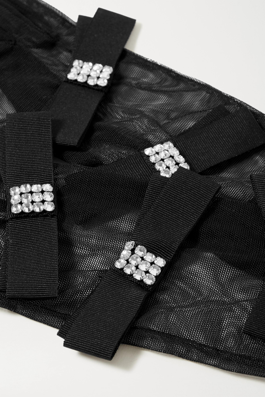 Gucci Handschuhe aus Ripsband und Stretch-Tüll mit Kristallen