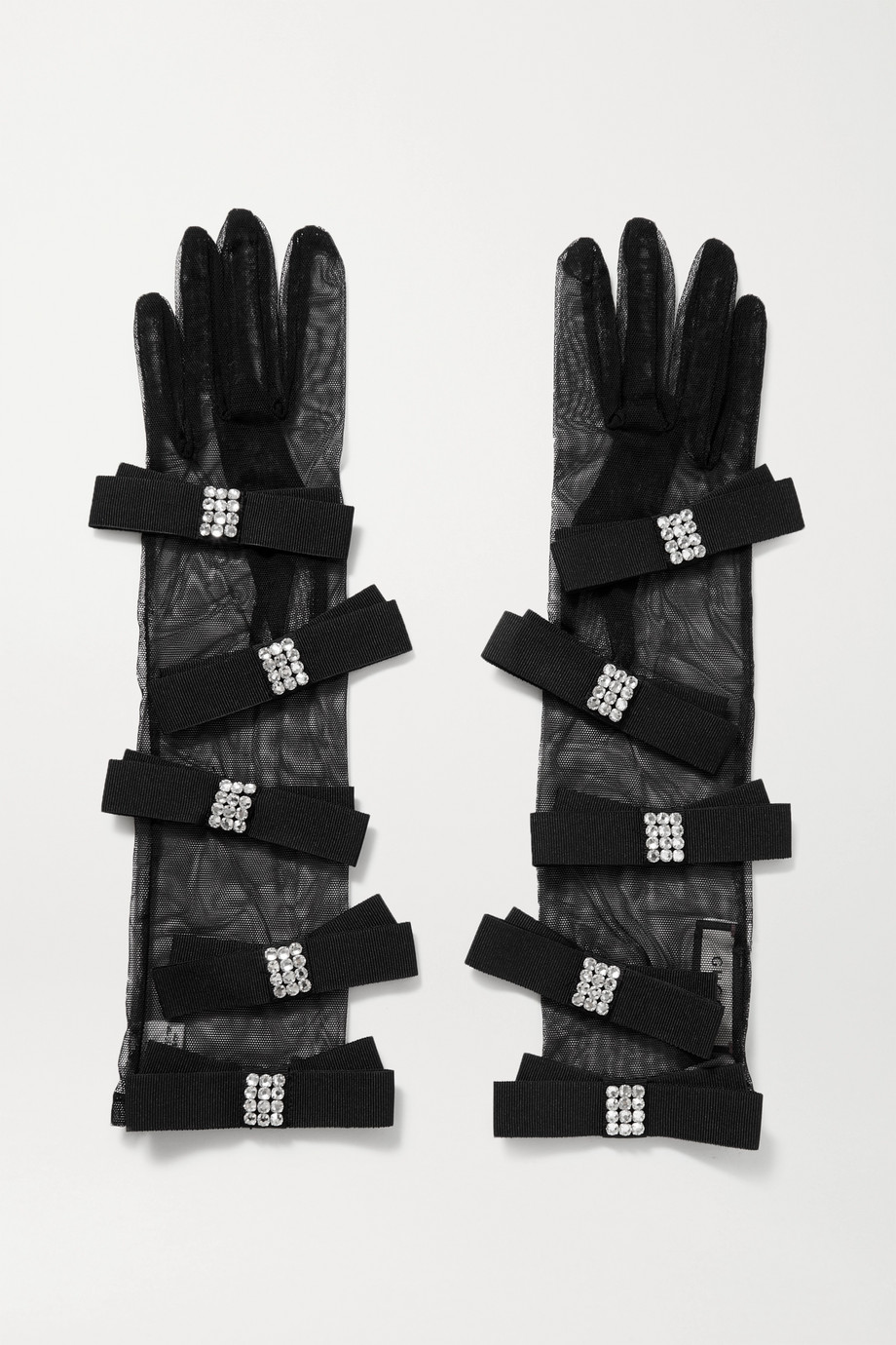 Gucci Crystal-embellished grosgrain and stretch-tulle gloves