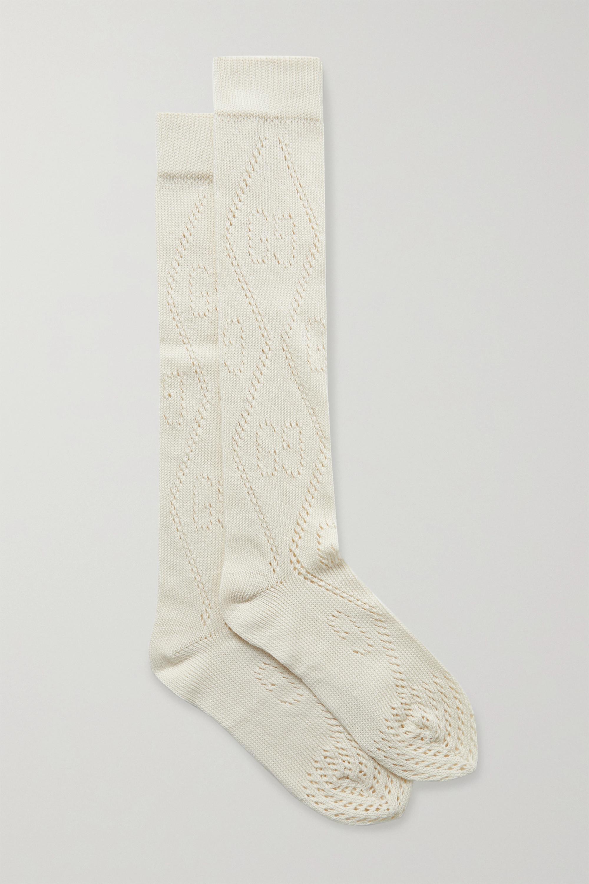 Gucci Pointelle-knit cotton-blend socks