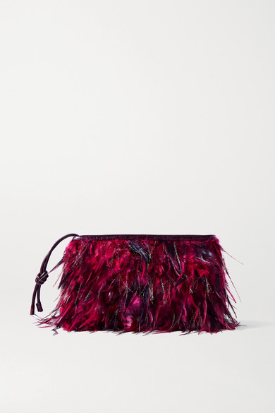 Dries Van Noten Leathers FEATHER-EMBELLISHED CROC-EFFECT LEATHER CLUTCH