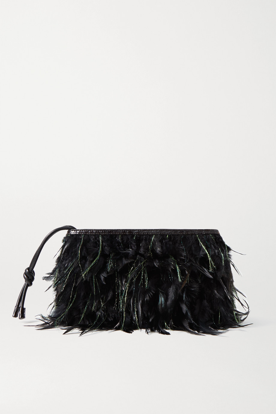 Dries Van Noten Feather-embellished croc-effect leather clutch