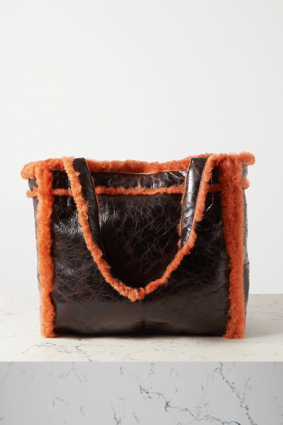 Dries Van Noten Reversible shearling and crinkled-leather tote