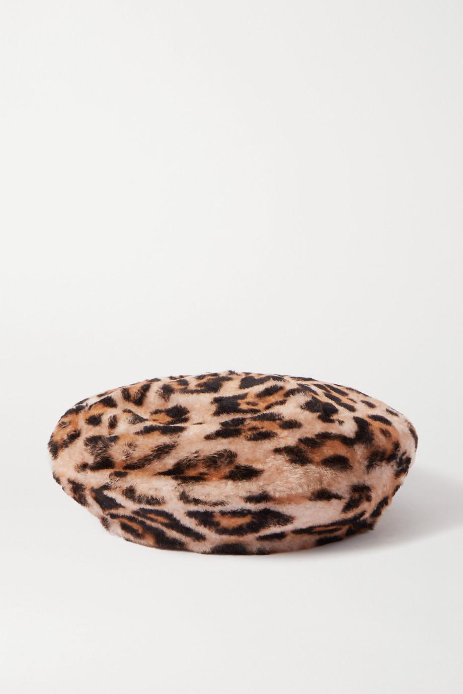 Yves Salomon Béret en peau lainée à imprimé léopard