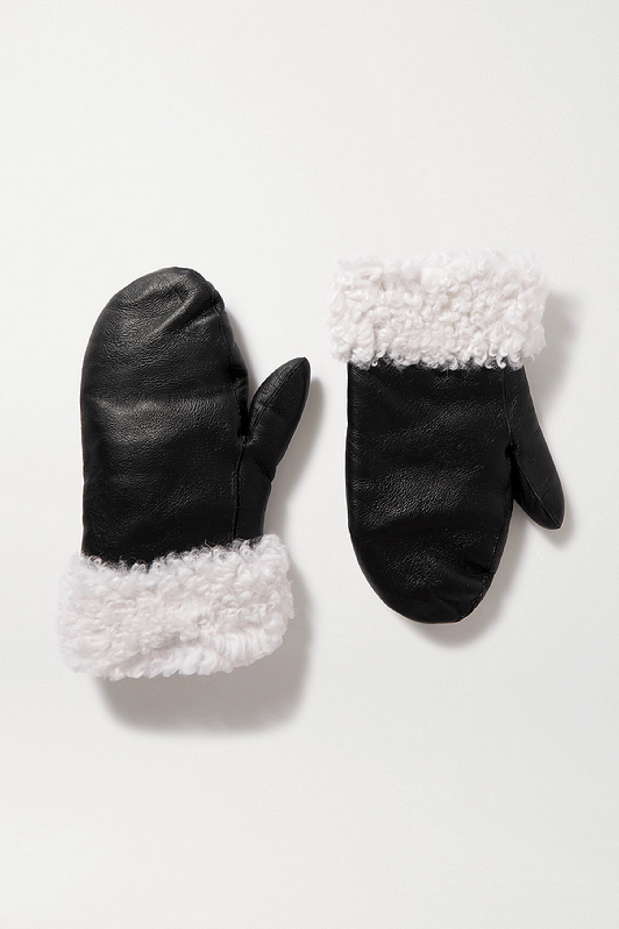 Yves Salomon Shearling-trimmed leather mittens