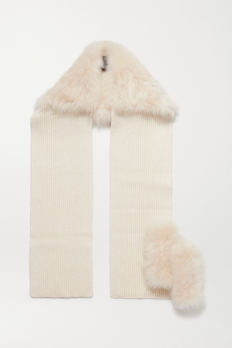 Yves Salomon Shearling-trimmed ribbed wool and cashmere-blend gloves and scarf set