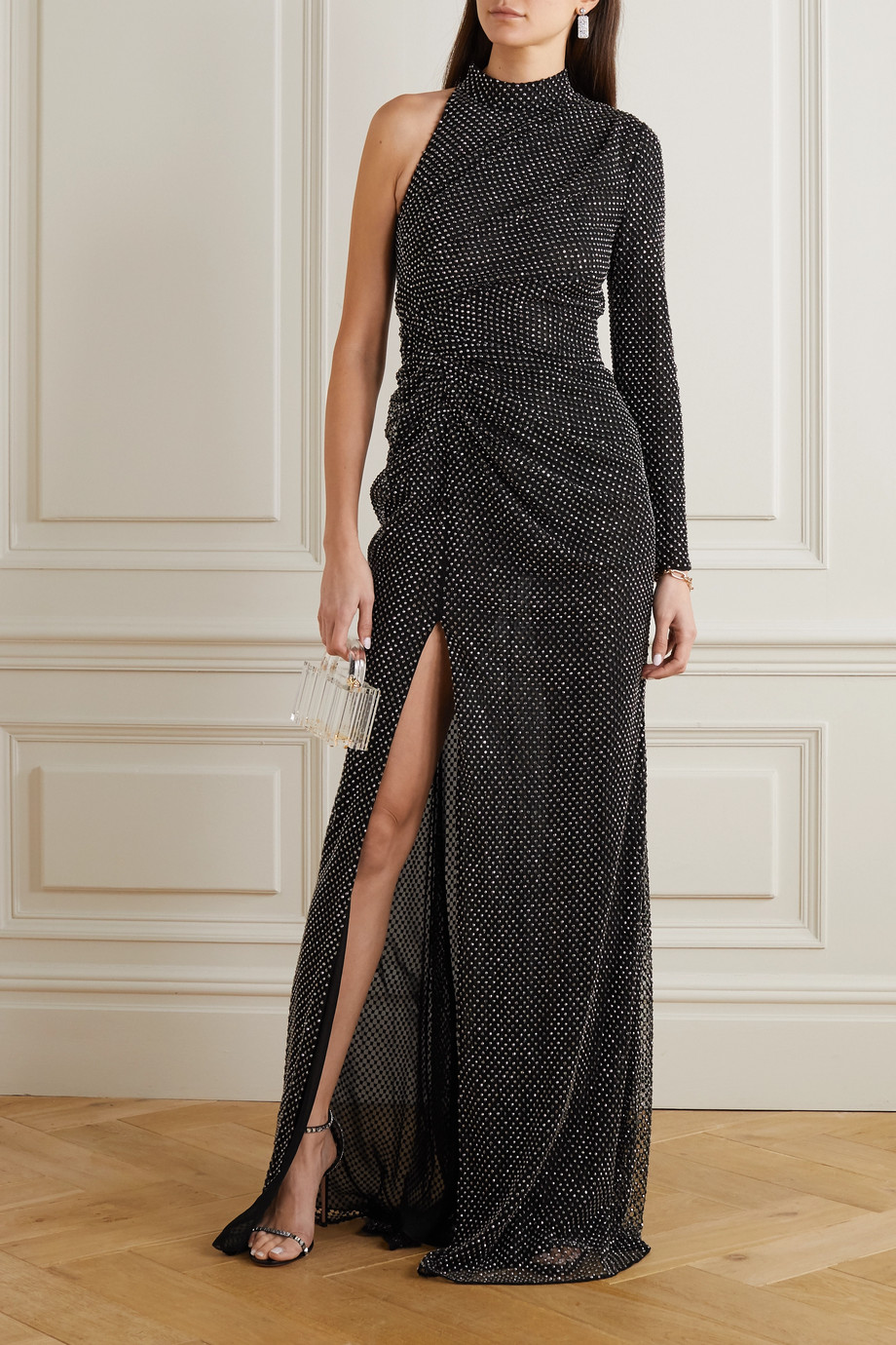 Ralph & Russo One-sleeve ruched crystal-embellished mesh gown