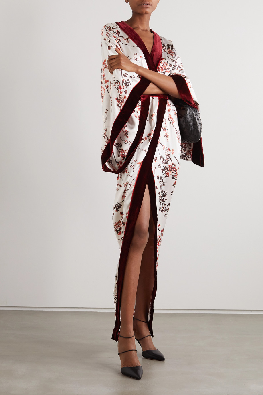 Ralph & Russo Velvet-trimmed floral-print satin wrap-effect gown