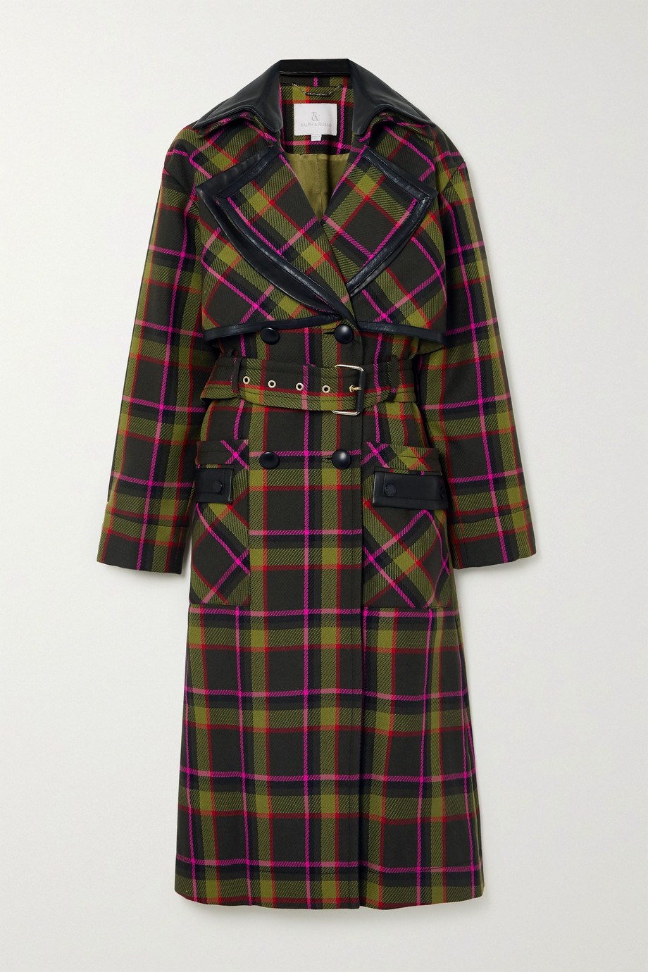 Ralph & Russo Belted double-breasted leather-trimmed checked wool coat
